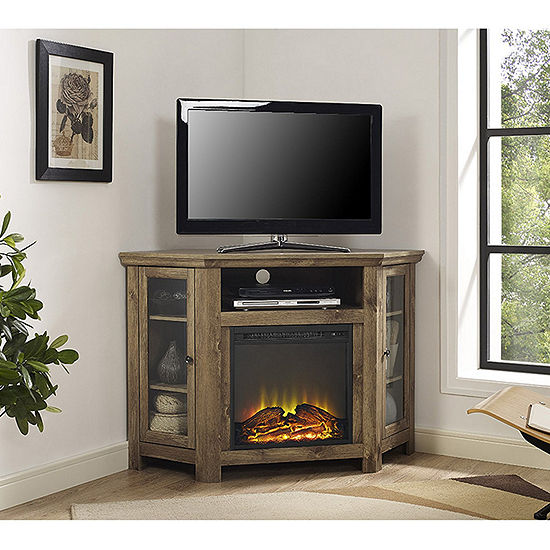"48"" Wood Corner Fireplace Media TV Stand Console"
