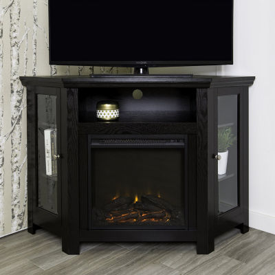 """48"""" Wood Corner Fireplace Media TV Stand Console"""