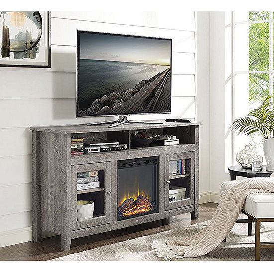 """58"""" Wood Highboy Fireplace Media TV Stand Console"""