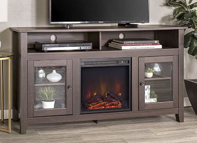 """58"""" Wood Highboy Fireplace Media TV Stand Console"""""""
