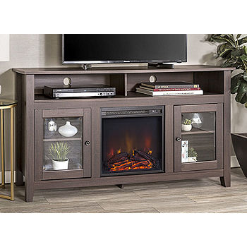 58 Wood Highboy Fireplace Media Tv Stand Console Jcpenney