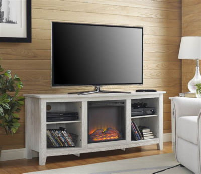 """58"""" Wood Fireplace Media TV Stand Console"""""""