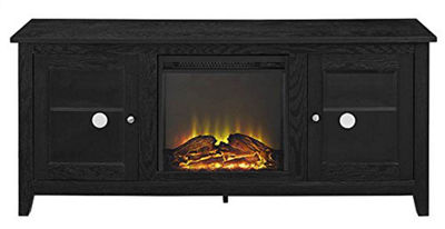 "58"" Wood Fireplace Media TV Stand Console with Doors"