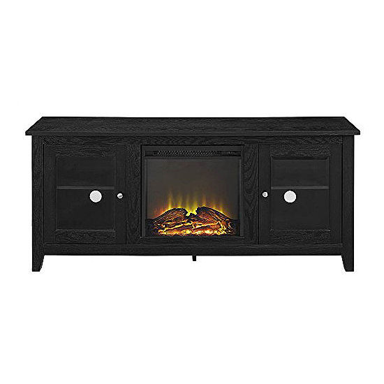 """58"""" Wood Fireplace Media TV Stand Console with Doors"""