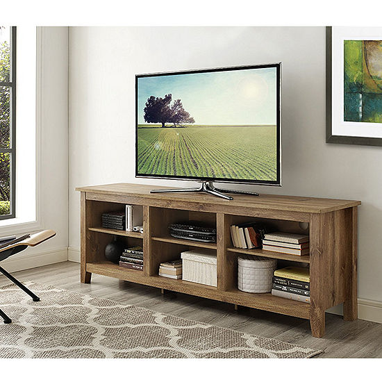 "70"" Wood Media TV Stand Storage Console"