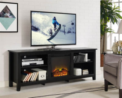 """70"""" Wood Fireplace Media TV Stand Console"""