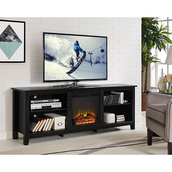 "70"" Wood Fireplace Media TV Stand Console"