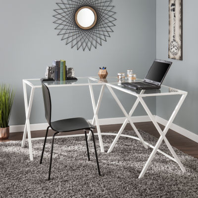 Modern Life Furniture Metal/Glass L-Shape Corner Desk