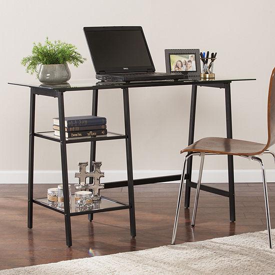Modern Life Furniture Metal/Glass Sawhorse/A-Frame Writing Desk