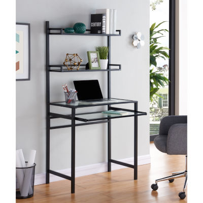 Modern Life Furniture Metal/Glass Small-Space Deskw/ Hutch
