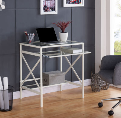 Modern Life Furniture Metal/Glass Small-Space Desk