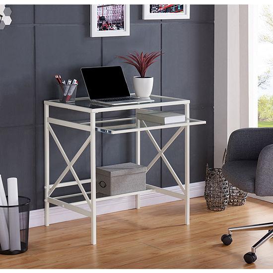 Modern Life Furniture Metal/Glass Small-Space Desk