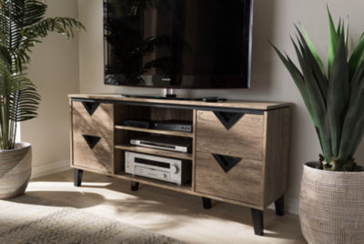 Baxton Studio Beacon Modern and Contemporary Light Brown Wood 55-Inch TV Stand