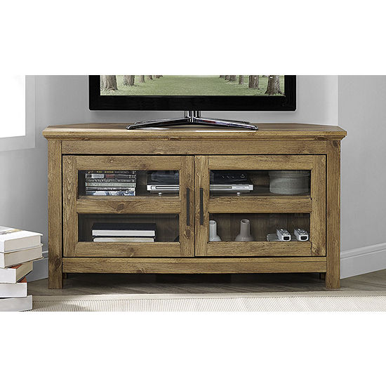 "44"" Wood Corner TV Media Stand Storage Console"