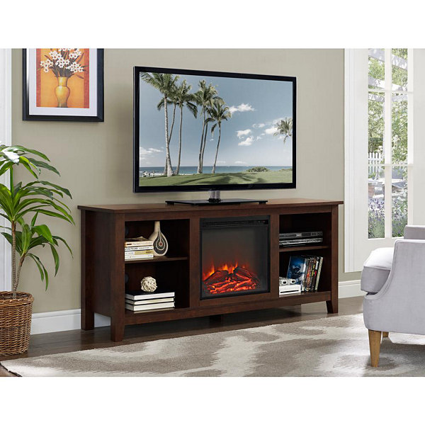 "58"" Wood Electric Fireplace Media TV Stand Console"