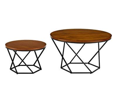 Geometric Wood Nesting Coffee Table Set