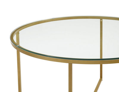 Glass Top  X-Base Coffee Table