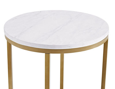 Faux-Marble Round End Table