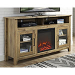 "58"" Wood Highboy Electric Fireplace Media Console TV Stand"