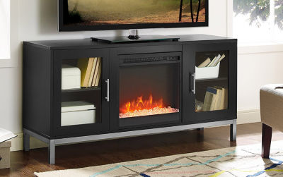 "52"" Avenue Wood Electric Fireplace TV Console with Metal Legs"