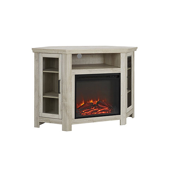 "48"" Wood Corner Electric Fireplace Media Console TV Stand"