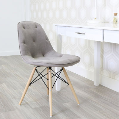 Grey Upholstered Eames Dining Kitchen Chairs - Set of 2