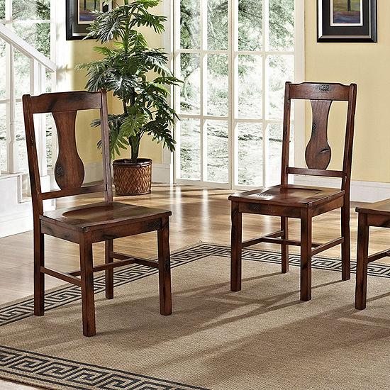 Distressed Dark Oak Wood Dining Kitchen Chairs, Set of 2
