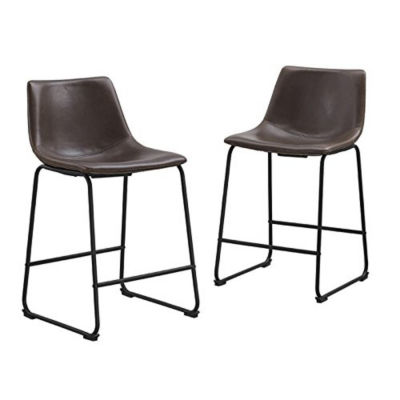 2-pc. Faux Leather Dining Kitchen Counter Stools
