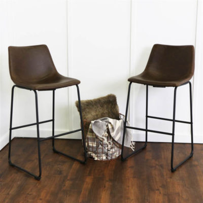 2-pc. Faux Leather Dining Kitchen Barstools
