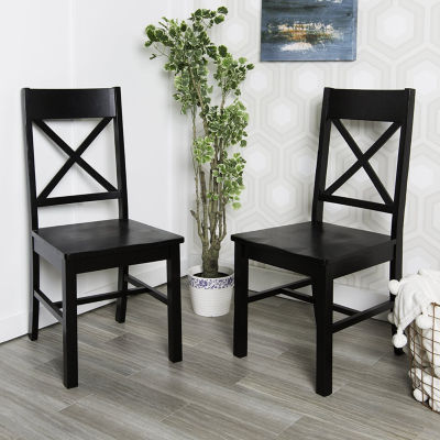 2-pc. Antique Brown Wood Dining Kitchen Chairs