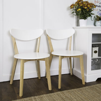 2-pc. Retro Modern Wood Kitchen Dining Chairs