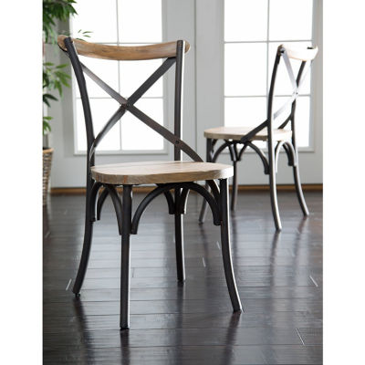 2-pc. Reclaimed Wood Industrial Metal Dining Chairs