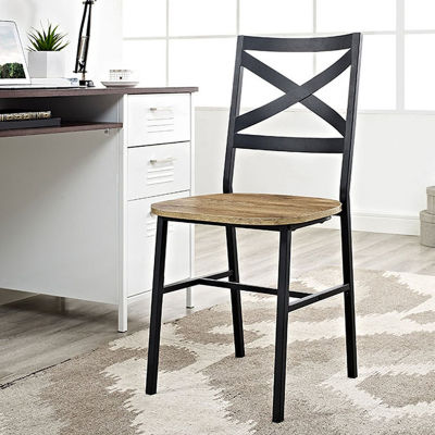 2-pc. Metal X-Back Wood Dining Chair