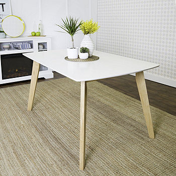 60 Retro Modern Wood Kitchen Dining Table Color White Natural Jcpenney