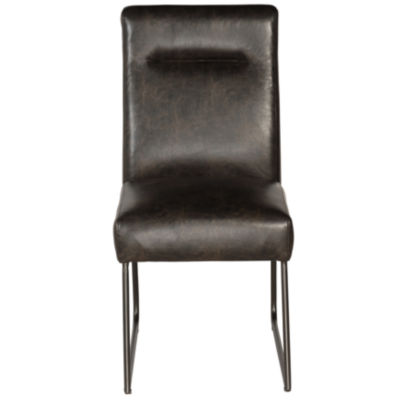 Industrial Faux Leather Side Chair