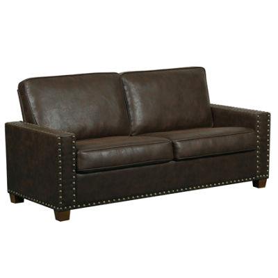 Rustic Walnut Faux Leather Two Cushion Sofa