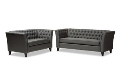 Great Baxton Studio Prima Modern And Contemporary Fabric Button Tufted Sofa And  Loveseat Set