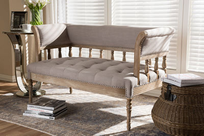 Baxton Studio Nora Swedish Gustavian Style Distressed Oak Wood Linen Upholstered Sofa Settee