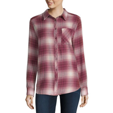 Arizona Womens Long Sleeve Button-Front Shirt-Juniors