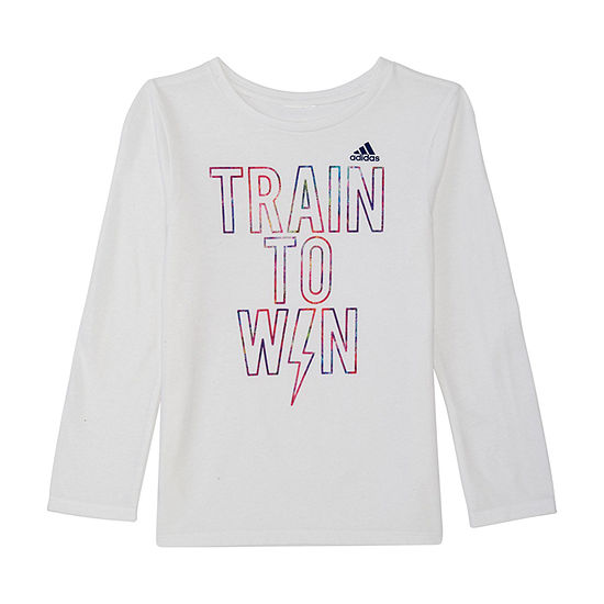 Adidas Girls Crew Neck Long Sleeve Graphic T Shirt Preschool
