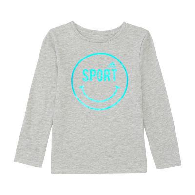 adidas Girls Crew Neck Long Sleeve Graphic T-Shirt-Preschool
