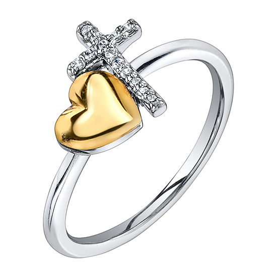 Footnotes Faith Cubic Zirconia Sterling Silver Cross Stackable Ring