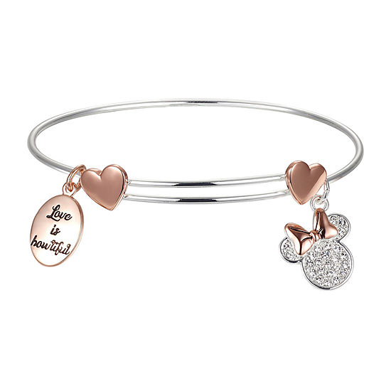 Disney Love Is Bowtiful Clear Pure Silver Over Brass Minnie Mouse Bangle Bracelet