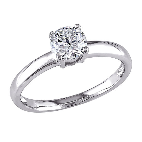 Womens Lab Created White Moissanite 14K White Gold Solitaire Engagement Ring