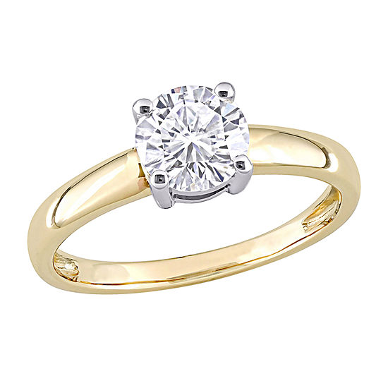 Womens Lab Created White Moissanite 14K Two Tone Gold Solitaire Engagement Ring