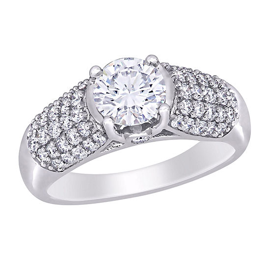Womens 1/2 CT. T.W. Lab Created White Moissanite 14K White Gold Engagement Ring