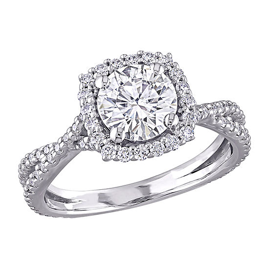 Womens Lab Created White Moissanite 10K White Gold Engagement Ring