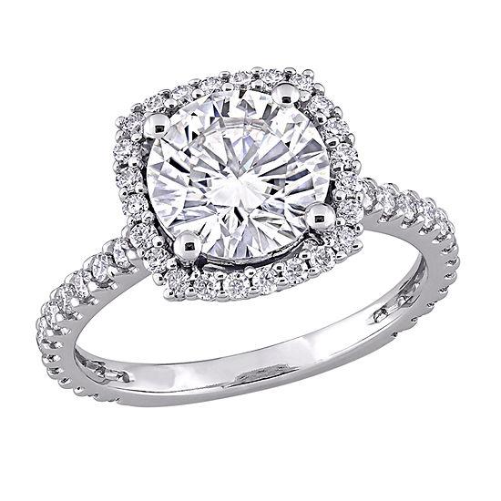 Womens Lab Created White Moissanite 10K White Gold Engagement Ring