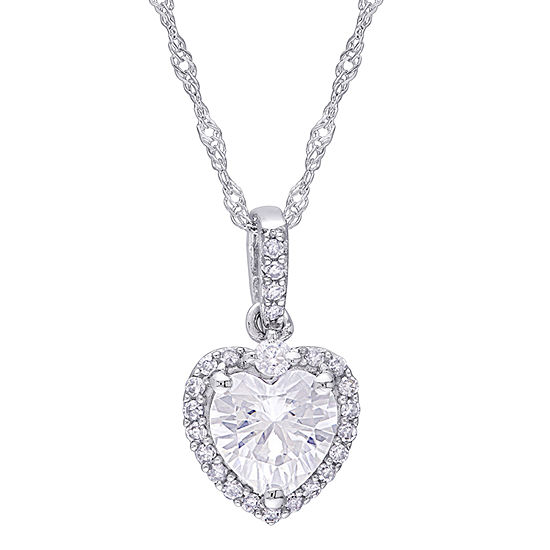 Womens 1/10 CT. T.W. Lab Created White Moissanite 10K White Gold Pendant Necklace