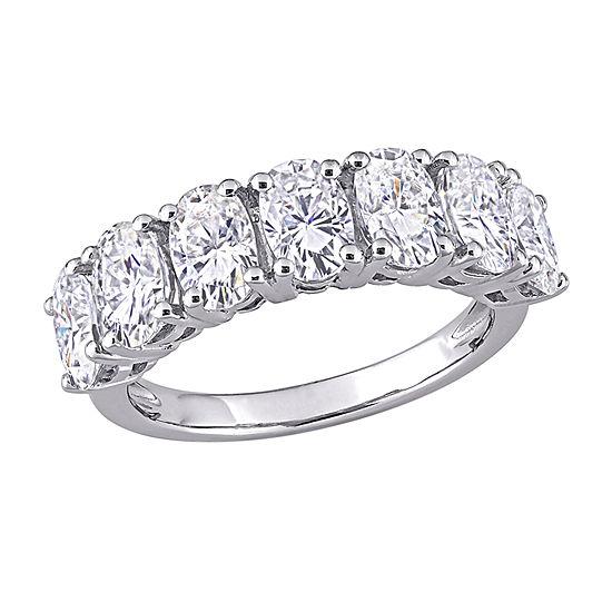 Womens Lab Created White Moissanite 10K White Gold Eternity Engagement Ring
